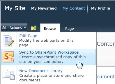 Commande Synchroniser avec SharePoint Workspace dans le menu Actions du site