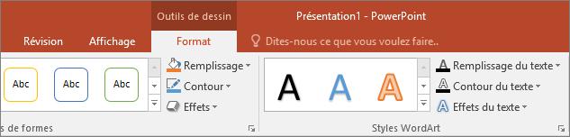 Onglet Outils de dessin sur le ruban dans PowerPoint