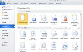 Commandes disponibles après l'activation de l'onglet Fichier dans Word