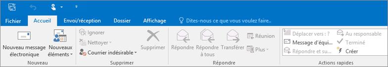 Apparence du ruban d'Outlook2016 sur le web.