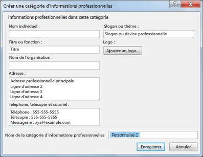 Créer une catégorie d'informations professionnelles dans Publisher 2010