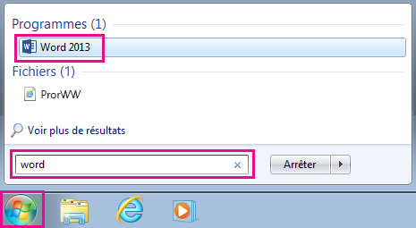 Rechercher des applications Office dans Windows 7