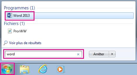 Rechercher des applications Office dans Windows7