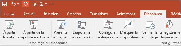 Onglet Diaporama sur le ruban dans PowerPoint