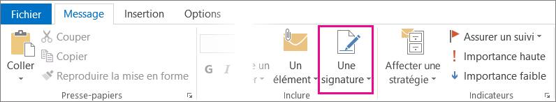 Outlook - Commande Signature dans le ruban