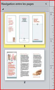 Brochure à trois volets sur deux pages s'affichant dans le volet de navigation de Publisher2010