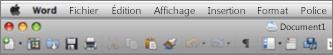 Interface utilisateur principale de Word pour Mac2011