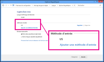 Ajout d'une méthode d'entrée dans Windows8