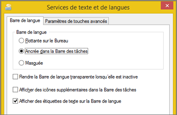 Office 2016 - Services de texte et langues d'entrée dans Windows 8