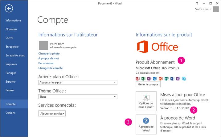 Fichier > Compte dans un abonnement Office365