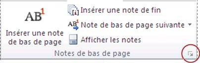 Lanceur de boîte de dialogue Note de bas de page et note de fin de document dans Word2010