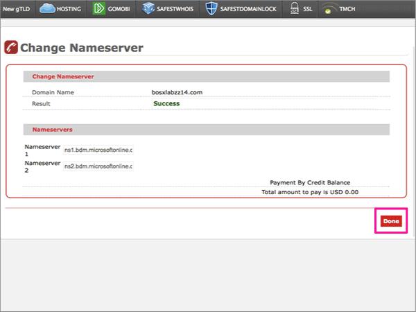 Modifier les serveurs de noms pour configurer office 365 for Application miroir ordinateur
