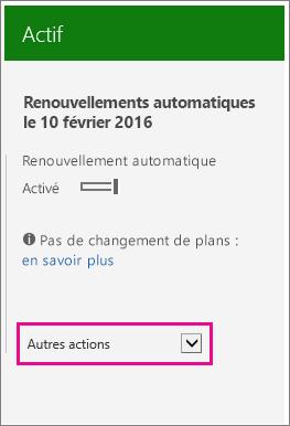 Capture d'écran de la page des abonnements avec la liste Plus d'actions mise en évidence.