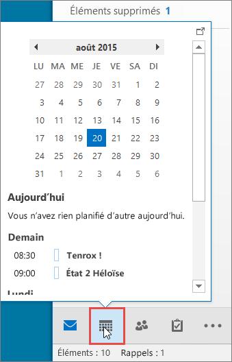Aperçu du calendrier avec l'icône Calendrier mise en évidence