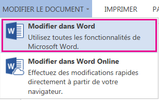 Capture d'écran de Word Online avec l'option Modifier dans Word sélectionnée