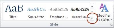 Bouton Autres styles de Word2010