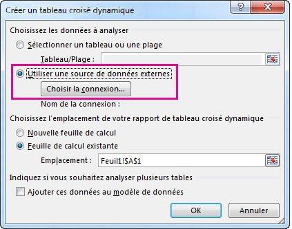Boîte de dialogue Créer un tableau croisé dynamique avec l'option Utiliser une source de données externes sélectionnée