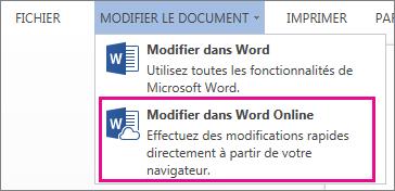 Image de la commande Modifier dans Word Web App