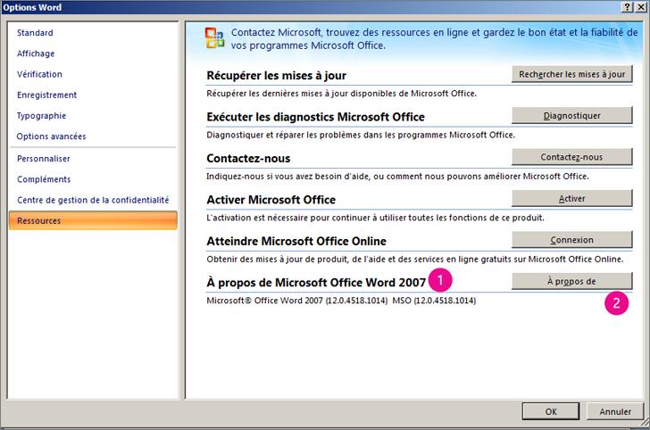 Fenêtre Ressources sous Options Word dans Word2007