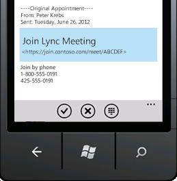 अपने मोबाइल डिवाइस से Lync मीटिंग में शामिल होने को दिखाने वाला स्क्रीन शॉट