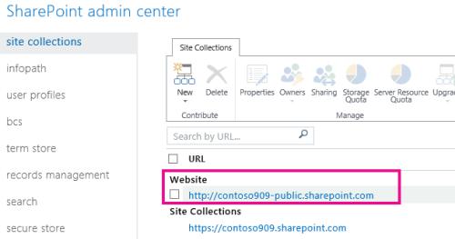 SharePoint व्यवस्थापन केंद्र > साइट संग्रह में सार्वजनिक वेबसाइट