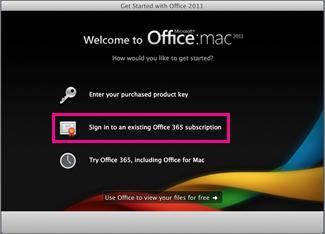 Office for Mac Home स्थापना पृष्ठ जहाँ आप किसी मौजूदा Office 365 सदस्यता में साइन इन करते हैं.