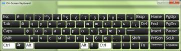 रूसी सिरिलिक वर्णों के साथ ऑनस्क्रीन कुंजीपटल