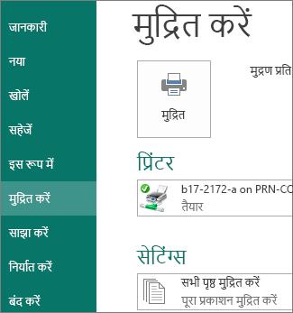 Publisher में मुद्रण विकल्पों का स्क्रीनशॉट.