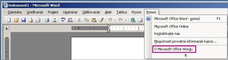 Pomoć > O programu Microsoft Office Word u programu Word 2003
