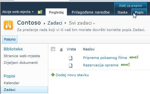 Kartica Popis u odjeljku Alati popisa na web-mjestu sustava SharePoint