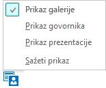 Snimka zaslona dostupnih prikaza sastanka uz odabran prikaz galerije