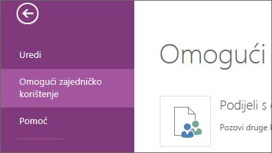 Naredba za zajedničko korištenje u web-aplikaciji OneNote Online
