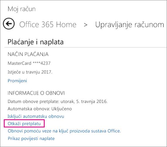 """Snimka zaslona stranice Upravljanje računom s odabranom vezom """"Otkazivanje pretplate""""."""