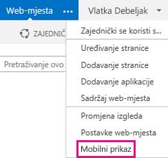 Izbornik Postavke na web-mjestu sustava SharePoint u PC prikazu