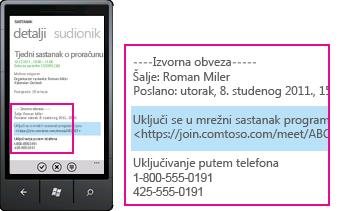 Snimka zaslona sa zahtjevom za uključivanje u mrežni sastanak programa Lync na mobilnom klijentu za Lync