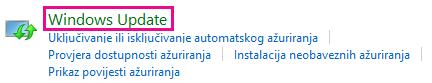 Veza na Windows Update na upravljačkoj ploči sustava Windows 8