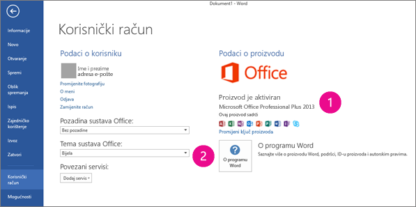 Datoteka > Račun u programu Word 2013