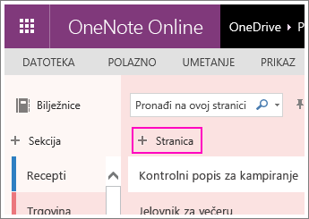 Snimka zaslona dodavanja stranice u web-aplikaciji OneNote Online.