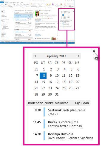 Naredba za uklanjanje uvida na prikvačenom uvidu u kalendar