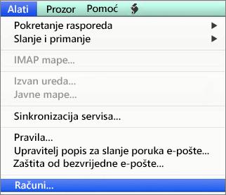 Outlook za Mac – Alati > Računi