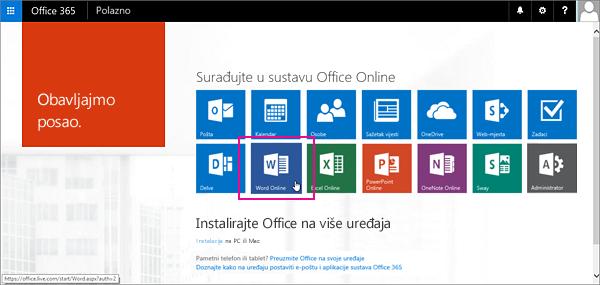 Odaberite aplikaciju sustava Office Online