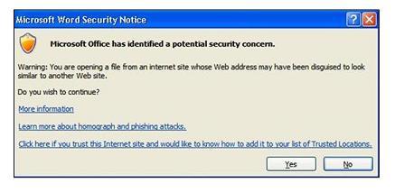 Poruka u programu Outlook koja se pojavljuje kada kliknete sumnjivu vezu