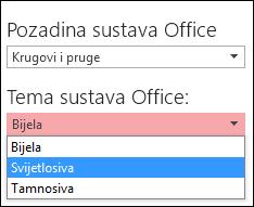 odabir druge teme sustava office