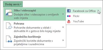 Dodavanje servisa kao što su Flickr i Facebook za Office