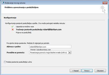Dijaloški okvir Dodavanje novog računa koji prikazuje da se račun ne može konfigurirati