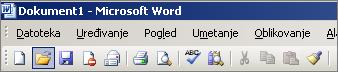 Glavni izbornik u programu Word 2003