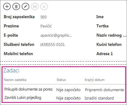 Prikaz u aplikaciji programa Access u kojemu se zadaci prikazuju u sklopu kontrole povezanih stavki.