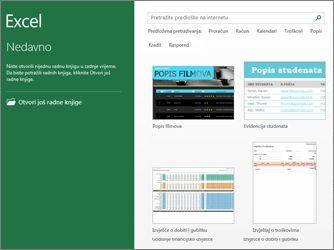 Neki od predložaka dostupnih u programu Excel