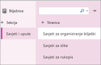Sekcije i stranice u programu OneNote Online