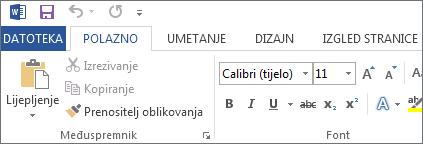 Kartica Polazno u programima Word 2013, Word 2016 i Word RT